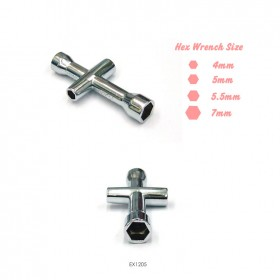 Hex Cross Wrench 4mm, 5mm, 5.5mm, 7mm