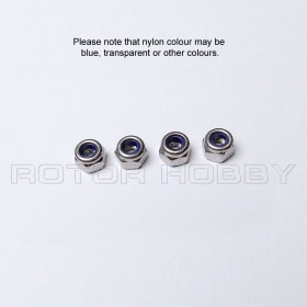 2mm 2.5mm 3mm 4mm 5mm Nylon Nut (4 pieces), 304 Stainless Steel