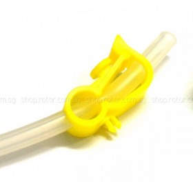 EX1492 EXCELLENCE Fuel Cut-off Clip, Yellow, compact type (2pcs) - fits dia. 5mm silicone tube