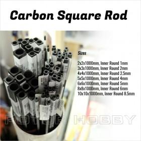 Carbon Square Rod 2x2x1000mm, 3x3x1000mm, 4x4x1000mm, 5x5x1000mm, 6x6x1000mm, 8x8x1000mm, 10x10x1000mm
