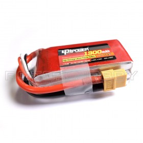 11.1V 1300mAh LiPo Battery, 45C, XT60 Connector