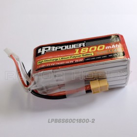 22.2V 1800mAh LiPo Battery, 60C, XT60 connector