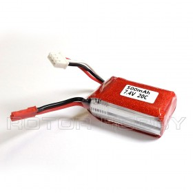 7.4V 500mAh LiPo Battery, 20C, JST connector