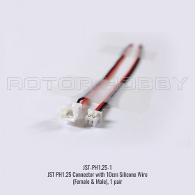 JST PH1.25 Connector with 10cm Silicone Wire (Female & Male), 1 pair (with 1.25mm spacing between pins)