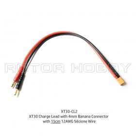 XT30 Charge Lead with 4mm Banana Connector with 15cm 12AWG Silicone Wire