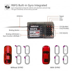 R6FG 6CH 2.4GHz Receiver with Gyro Integrated and HV Servo Supported for RC4GS/RC6GS/RC4G/T8FB