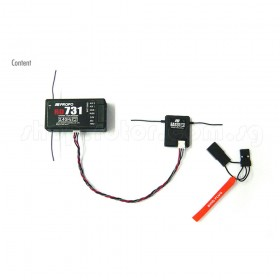 "RD731 7-Channel 2.4GHz Receiver (DSMJ), EA131 Remote Receiver 2.4GHz (DSMJ), 150mm (6"") 2.4GHz Remote wire extension, Bind Plug"