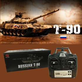 Upgrade S Version, 1/16th scale Remote Controlled Russian T-90 Smoking RC Tank by Heng Long RC.