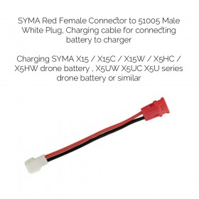 SYMA Red Female Connector to 51005 Male White Plug, Charging cable for connecting battery to charger