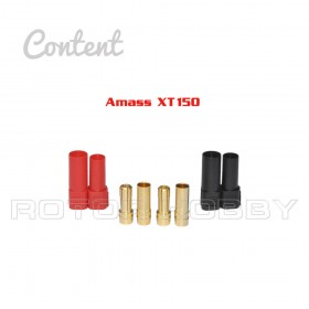 Up to 500V, XT150 Connectors with 6mm connector, Red & Black, 1 set