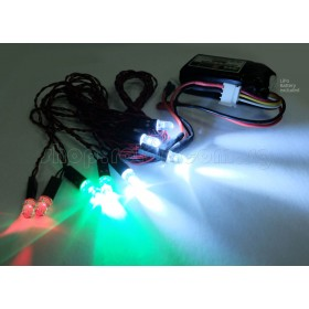 EX1200-1 EXCELLENCE 3.7V Night Flying Wire Set (Red, Green & White LED) with Balance connector head, for R/c Kites, Helicopters