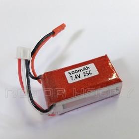 7.4V 500mAh LiPo Battery, 25C, JST