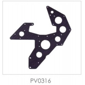 PV0316 THUNDER TIGER Carbon Graphite Lower Side Frames, for Raptor 60/90 (Note: PV0316 is same as code: PV0475)