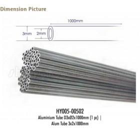 HY005-00502 1M Aluminium Tube, LxODxID: 1000 x 3 x 2mm