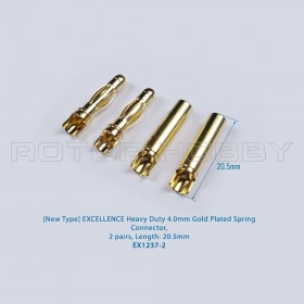Heavy Duty 4.0mm Gold Plated Spring Connector, 2 pairs