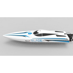 RC BLADE (60cm) Saw-blade Hull Racing Boat V2.0, BRUSHED Motor, WHITE with blue decals