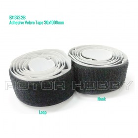 Adhesive Velcro Tapes 30x1000mm (Hook and Loop), Black, 3x100cm