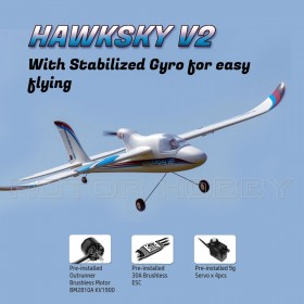 DYNAM Hawksky V2 1370mm RC Airplane, with 6-axis Gyro, SPNP