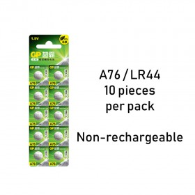 10 pieces of 100% Genuine GP A76 / LR44 Alkaline Round Button Battery
