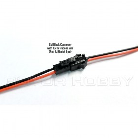 SM Black Connector with 10cm 22AWG Silicone Wire (Red & Black), 1 pair