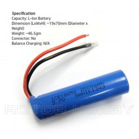 ICR18650 3.7V 2000mAh Rechargeable Li-Ion Battery / Liion for solar lights