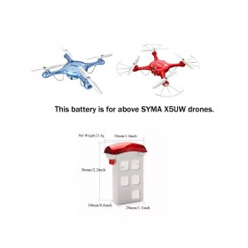 3.7V 500mAh LiPo Battery, Red for SYMA X5UW drone
