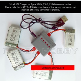 5-in-1 USB Charger for Syma X5HW, X5HC, X15W drones or similar