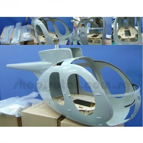 [NETT] Hughes 500D 60 Kit Unpainted Fiberglass Model Engine Helicopter Bodyshell / Fuselage