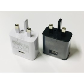 USB 5V 2A / 9V 1.67A UK 3-pin Mains Plug Travel Adapter, Phone Charger for iPhone, Samsung S6 S8 S10 / handphone adaptor