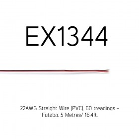 22AWG Straight Wire (PVC), 60 treadings - Futaba, 5 Metres/ 16.4ft