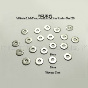 Flat Washer 2.5x8x0.7mm, actual 2.8x7.8x0.7mm, 316 Stainless Steel (20)