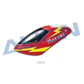 ALIGN 500 Painted Canopy (Red w/ Yellow Lightning) for T-REX 500