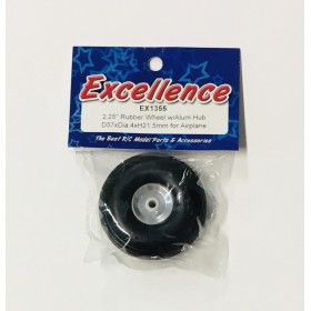 """EX1355 EXCELLENCE 2.25"""" Rubber Wheel with Aluminium Hub D57xDia.4xH21.5mm for Airplane"""