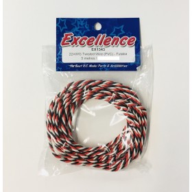EX1343 EXCELLENCE 22AWG Twisted Wire (PVC), for Futaba, Length: 5 Metres / 16.4ft