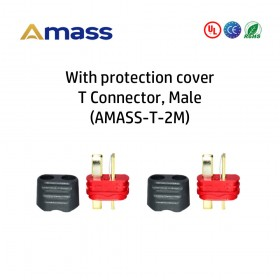 With Protection Cover, T Plug, 2pcs, Male