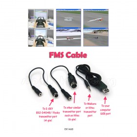 FMS Simulator Cable for JR / Spektrum / Hitec / FlySky / E-SKY / Walkera transmitter use