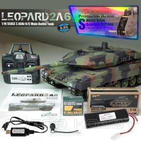 Heng Long 2.4GHz 1/16th scale German Leopard 2 A6 RC Battle Smoking Tank, Upgraded, S version, Ready-to-run
