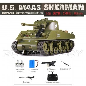 Heng Long 1/30th scale U.S. M4A3 Sherman RC Realistic Battle Tank, with Sound and LED Lights, for Children, Ready-to-run