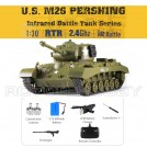 1/30th scale U.S. M26 Pershing RC Realistic Battle Tank, Infrared, with Sound and LED Lights, for Children, Ready-to-run