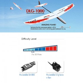 DLG-1000 EPO Unpowered Glider, Plug-and-Play + UBEC 3A + 3.7g servo x 4pcs, EPO Foam, Wingspan 995mm, Length 812mm - TOH17