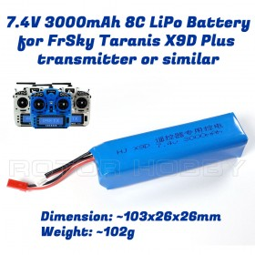 7.4V 3000mAh 8C LiPo Battery for FrSky Taranis X9D Plus  transmitter or similar