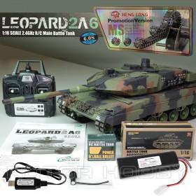 2.4GHz 1/16th scale German Leopard 2A6 RC Battle Smoking Tank, UA version, Ready-to-run
