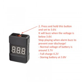 1-8S Li-Po Battery Voltage Tester low Voltage Buzzer Alarm for Lipo/Li-ion/LiMn/Li-Fe battery