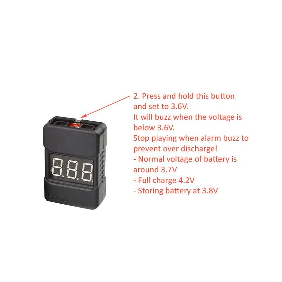 1-8S Li-Po Battery Voltage Tester low Voltage Buzzer Alarm