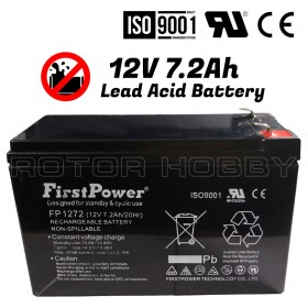 FP1272 FirstPower® Rechargeable Lead Acid Battery 12V 7.2Ah/20Hr, Non-Spillable (2.4kg), ISO9001