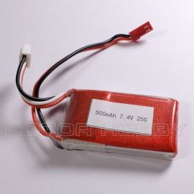 7.4V 500mAh LiPo Battery, 25C, JST, ~54x31x10mm, ~31g. Code: LPB2S25C500-JST2