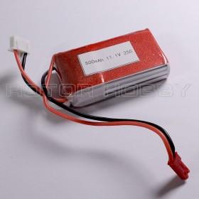 11.1V 500mAh 25C LiPo Battery, ~57x31x14mm, ~44g, JST plug, LPB3S25C500-JST