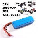 7.4V 3000mAh LiPo Battery, T plug , ~105x35x18mm, ~133g for Wltoys 144001 124018 124019