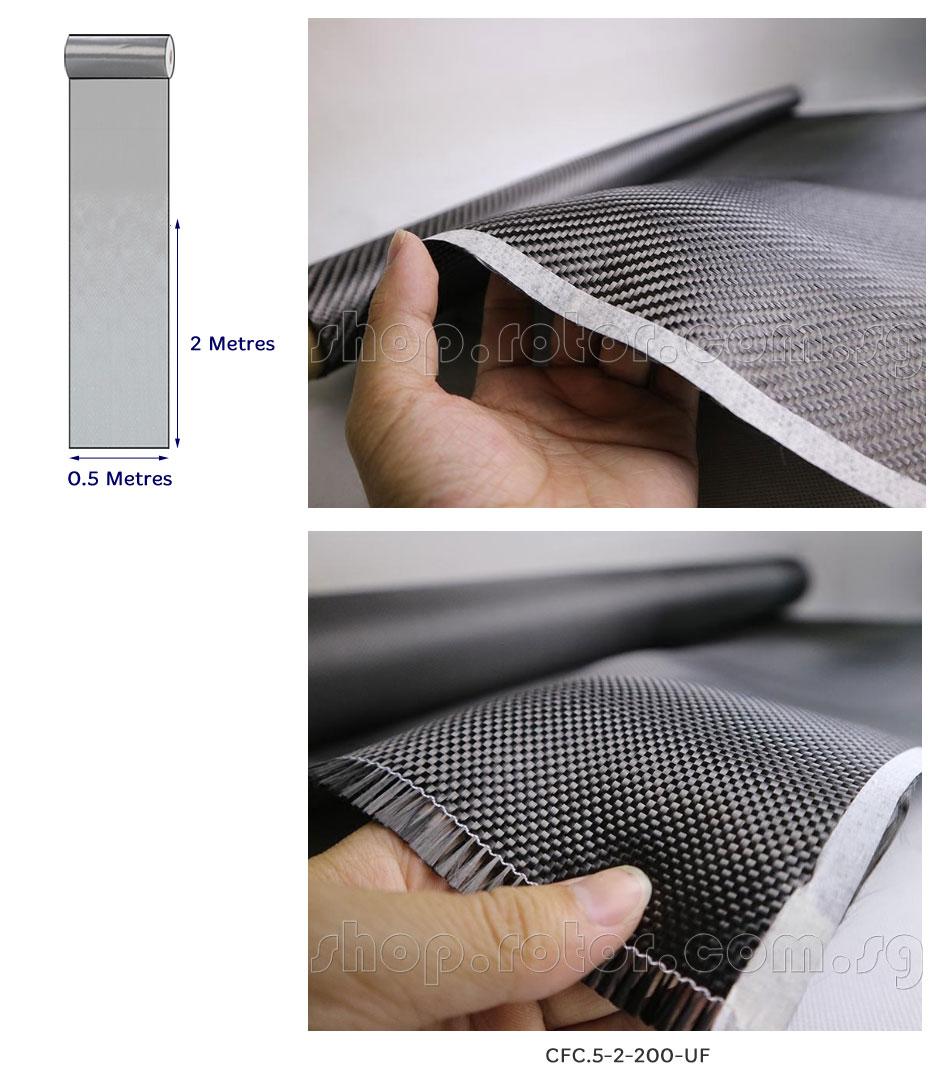 3K Plain Weave Carbon Fiber Cloth 0.5 Metre x 2 Metres, 200g/sq m, Unfixed | 500x2000mm