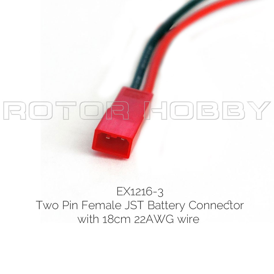 Two Pin JST Connector with 18cm 22AWG Silicone wire